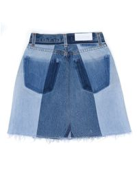 Re/done - Blue High Waisted Seamed Mini Skirt - Lyst