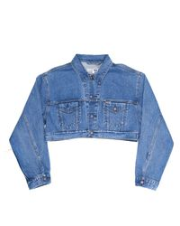 Re/done - Blue Cropped Denim Jacket - Lyst