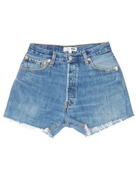 Re/done - Blue High Rise Relaxed Short - Lyst
