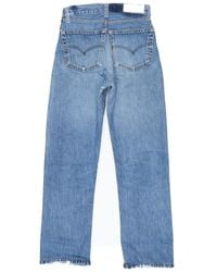 Re/done - Blue High Rise Straight Crop - Lyst
