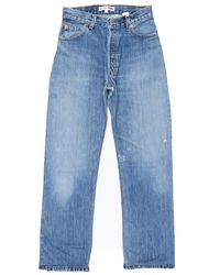 Re/done | Blue High Rise Straight Crop | Lyst