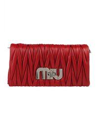 Miu Miu - Red Matelassé Chain Clutch - Lyst