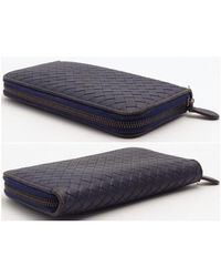 Bottega Veneta Blue Intre Round Zip Long Wallet 114076 Navy