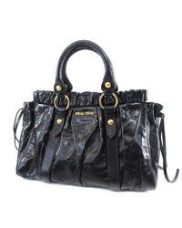 ca683e1ce8ff Lyst - Miu Miu Miumiu Leather Shoulder Bag With Logo in Black