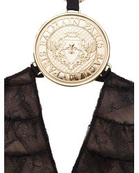 Balmain - Black Sleeveless Lacy Dress In Polyamide With Rouches And Necklace With Medallion - Lyst