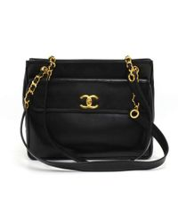 Chanel - Vintage Black Lambskin Leather Medium Shoulder Tote Bag - Lyst