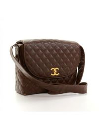 Lyst - Chanel Vintage Dark Brown Quilted Caviar Leather Shoulder ... 12ccd7d63f125