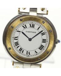 Cartier - Metallic Santos Round Yg Combination Quartz Mens Pre-owned - Lyst