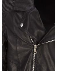 Balmain Black Lambskin Biker Jacket With Ribbed Inserts And Asymmetrical Double Zip Closure for men
