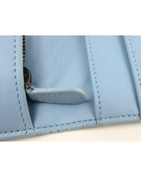 Bottega Veneta - Zip Long Wallet Intrecciato Leather Black X Light Blue - Lyst