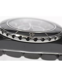 Chanel - J H1625 33 Mm Black Ceramic 12p Diamond Quartz Ladies Pre-owned for Men - Lyst