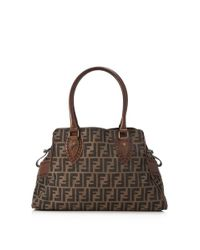c02ac12952b3 Lyst - Fendi Pre-owned Zucca Shoulder Bag in Brown