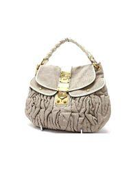 3519869fcb6 Miu Miu. Women s Authentic Matelasse Linen 2 Way Shoulder Bag Natural Rr1300
