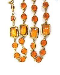"""Chanel - Brown Amber Vintage Crystal Chicklet Gold Plated Sautoir 61"""" Mint Necklace - Lyst"""