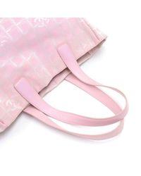 Chanel - Travel Line Light Pink Jacquard Nylon Large Tote Bag - Lyst