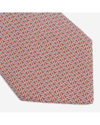 Hermès - Leaf Style Pattern Silk Tie / Red X White X Light Blue / for Men - Lyst
