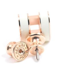 Hermès - Metallic Pop Ash Earring White / Pink Gold - Lyst