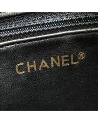 Chanel Chain Tote Bag Leather Black Used Vintage