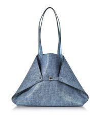Akris - Blue Dark Denim Printed Nubuck And Pale Sky Softcalf Ai Medium Reversible Bag - Lyst