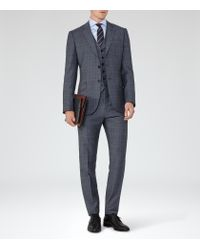 Reiss - Blue Monroe Check Wool Modern Fit Suit for Men - Lyst