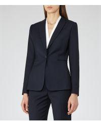 Reiss - Blue Indi Jacket Textured Single-breasted Blazer - Lyst