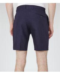 Reiss Blue Sky Linen Shorts for men