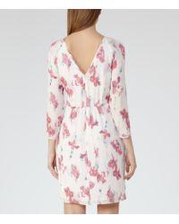 Reiss White Kami Printed Long-sleeved Dress