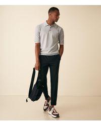Reiss Blue Marsden - Tipped Short Sleeved Polo for men