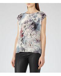 Reiss | Gray Coleen Silk Front Print Top | Lyst