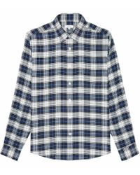 Reiss Blue Brushed Checked Overshirt for men