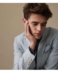 Reiss Blue Cosmopolitan B - Slim Fit Linen Blend Blazer for men