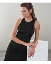 Reiss Black Uma - Ladder Detail Shift Dress