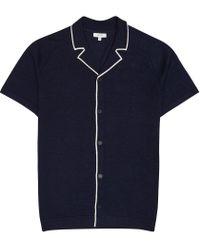 Reiss Blue Acre - Cuban Collar Knit for men