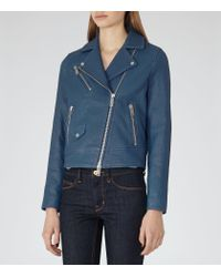 Reiss | Blue Favour Textured Leather Biker Jacket | Lyst
