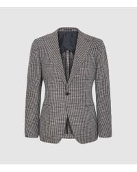 Reiss Brown Dogtooth Checked Blazer for men