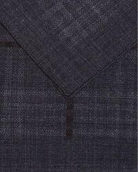 BOSS Gray Classic Grey Tartan Wool Pocket Square for men