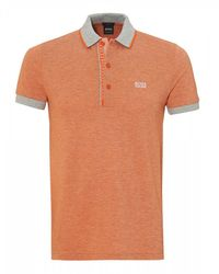 BOSS Paule 4 Polo Shirt, Slim Fit Orange Polo for men
