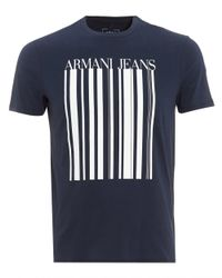 Armani Jeans - T-shirt, Barcode Logo Navy Blue Tee for Men - Lyst