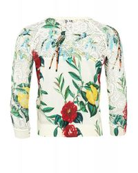 Armani Jeans White Crew Neck Cotton Cardigan With Flower Print