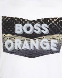 BOSS Orange - T-shirt, 'tripolo 1' Logo Print Slim Fit White Tee for Men - Lyst