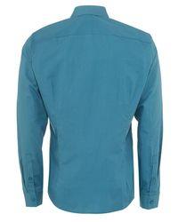 Versace Jeans - Shirt Blue Slim Fit Cotton Plain Shirt for Men - Lyst