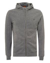 BOSS - Gray Ztadium Hoodie, Panel Sides Grey Melange Sweatshirt for Men - Lyst