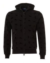 Armani Jeans - Flocked Eagle Hoodie, Zip Up Black Sweatshirt for Men - Lyst