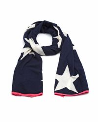 Cocoa Cashmere - Blue All Over Star Print Cashmere Navy Scarf - Lyst