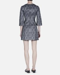 SUNO   Gray Silver Metallic Deep V-neck Dress   Lyst