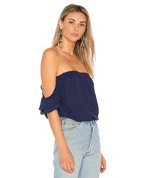 Krisa Blue Ruffle Off Shoulder Top