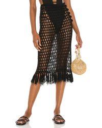 superdown Black Misty Crochet Midi Skirt
