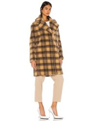 Kendall + Kylie Natural Teddy Plaid Coat