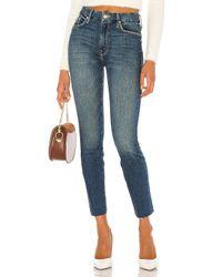 Jean Skinny The Looker Ankle Fray Mother en coloris Blue