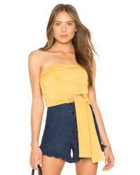 MINKPINK Yellow Tie Front Strapless Top
